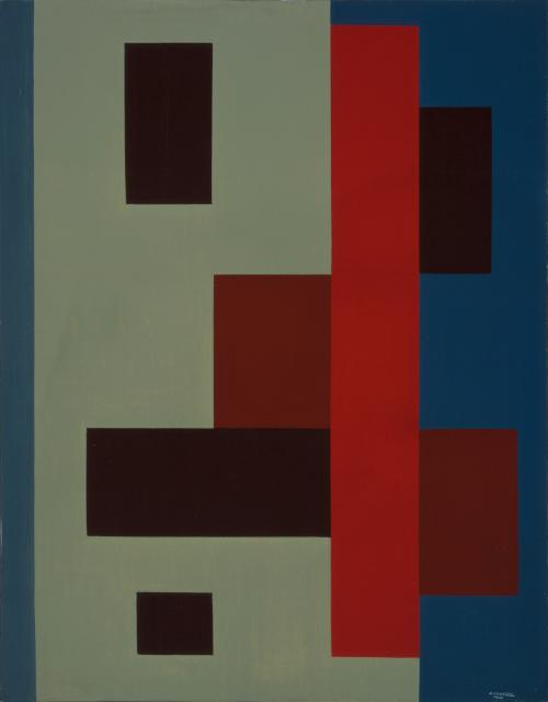 Abstract composition blue-red-green