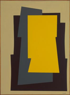Composition with two Colours Yellow, Grey and Black