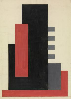 Composition in Black, Grey, Red