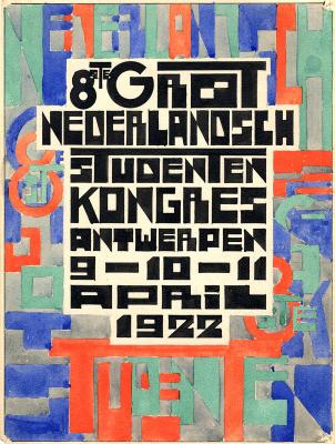"Poster of the ""8ste Groot Nederlandsch Studentenkongres"""