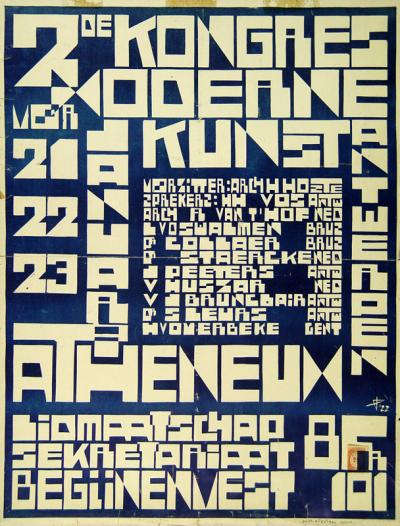 Jozef Peeters, Poster of the Kongres voor Moderne Kunst / Atheneum Antwerpen, House of Literature, Antwerp.