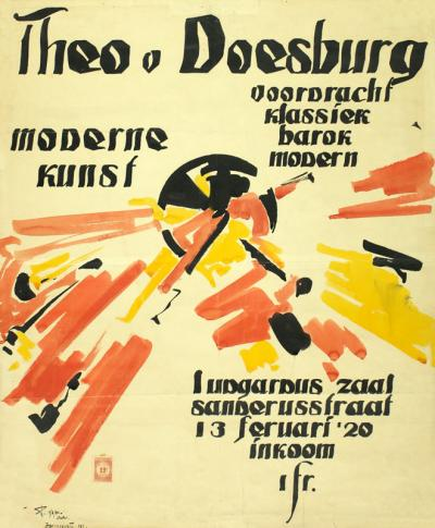 Jozef Peeters, Poster lecture by Theo van Doesburg: Klassiek, Barok, Modern, House of Literature, Antwerp.